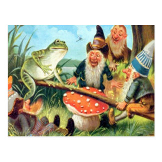 A Gnome and Frog on a Mushroom Seesaw Postcard