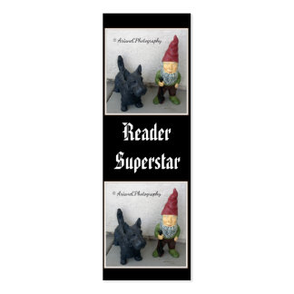 A gnome and his dog tiny bookmarks pack of skinny business cards