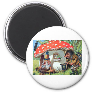 A Gnome Living in a Mushroom Cottage Magnet