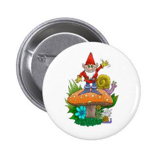 A gnomes mushroom. 6 cm round badge