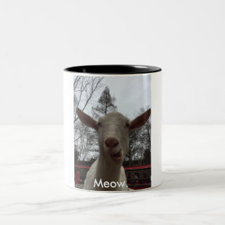 A Goat Says Meow. Two-Tone Coffee Mug