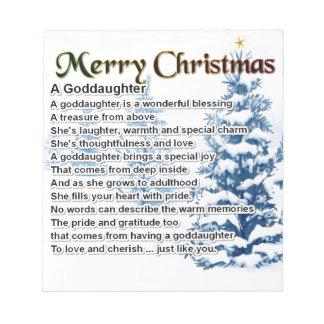 A goddaughter poem - Christmas design Notepad