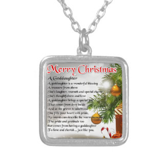 A goddaughter poem - Christmas design Silver Plated Necklace