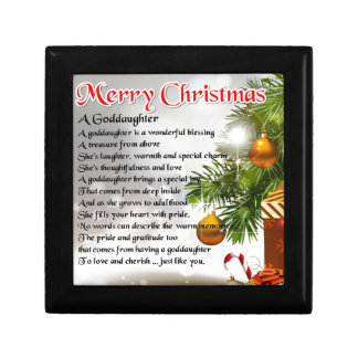 A goddaughter poem - Christmas design Small Square Gift Box