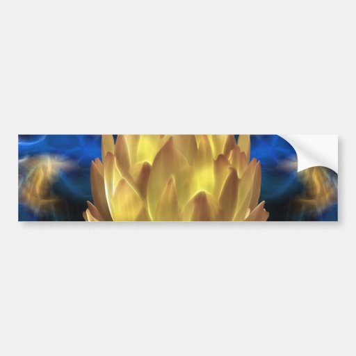 A gold lotus flower and reflections bumper stickers