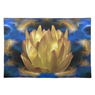 A gold lotus flower and reflections placemat