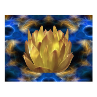 A gold lotus flower and reflections postcard