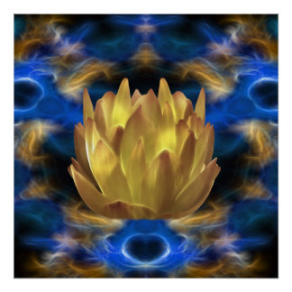 A gold lotus flower and reflections poster