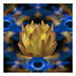 A gold lotus flower and reflections print