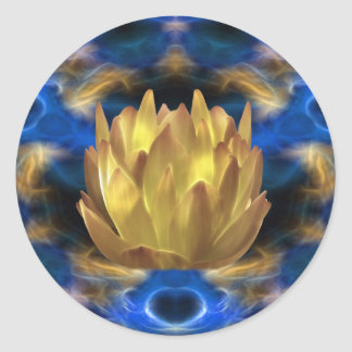 A gold lotus flower and reflections round sticker