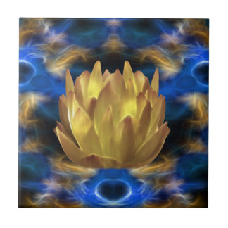 A gold lotus flower and reflections ceramic tile