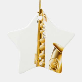 A gold saxophone christmas ornament