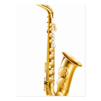 A gold saxophone postcards