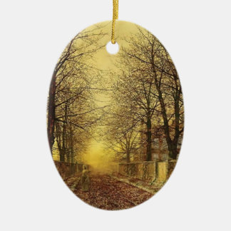 A Golden Country Road by John Atkinson Grimshaw Ceramic Oval Decoration