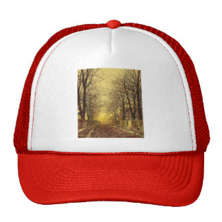 A Golden Country Road by John Atkinson Grimshaw Mesh Hats