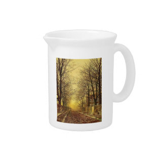 A Golden Country Road by John Atkinson Grimshaw Beverage Pitchers