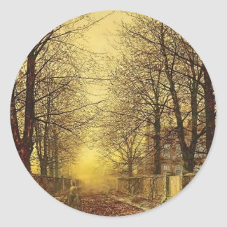 A Golden Country Road by John Atkinson Grimshaw Round Stickers
