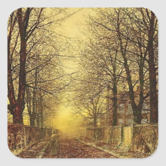 A Golden Country Road by John Atkinson Grimshaw Square Stickers