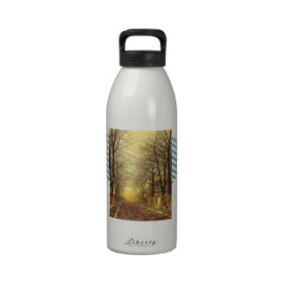 A Golden Country Road by John Atkinson Grimshaw Reusable Water Bottle