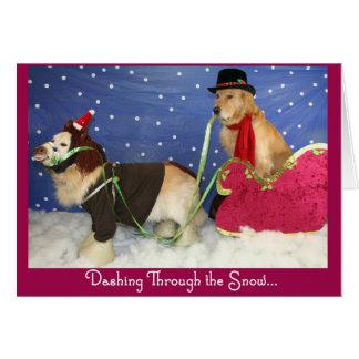 A Golden Sleigh Ride Christmas Card