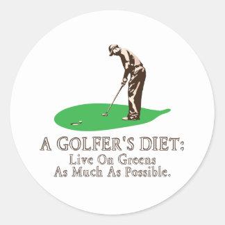 A Golfer's Diet Classic Round Sticker