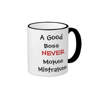 A Good Boss Never Mokes Mistrakes! Mugs