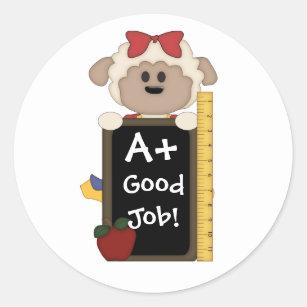 A+ Good Job!-Cute Sheep Classic Round Sticker