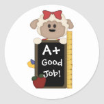 A+ Good Job!-Cute Sheep Round Stickers