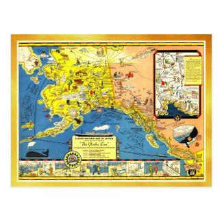 A good-natured map of Alaska Postcards