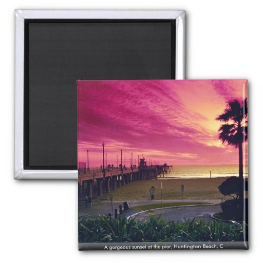A gorgeous sunset at the pier, Huntington Beach, C Square Magnet