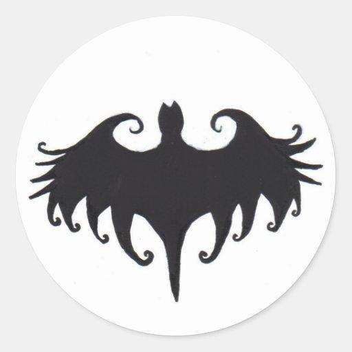 a gothic bat round sticker
