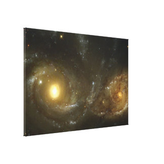 A Grazing Encounter Between Two Spiral Galaxies Gallery Wrapped Canvas