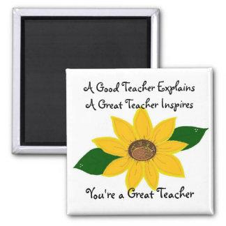 A Great Teacher Sunflower Design Square Magnet