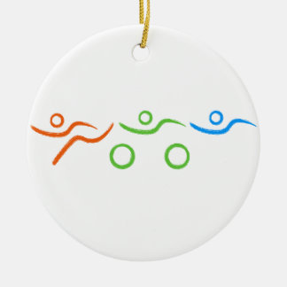 A great Triathlon gift for your friend or family Round Ceramic Decoration