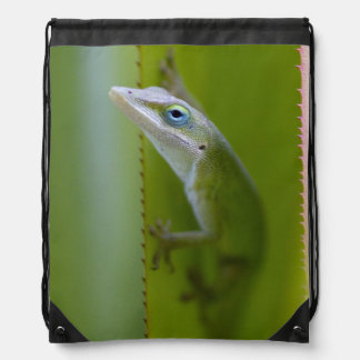 A green anole is an arboreal lizard drawstring bag