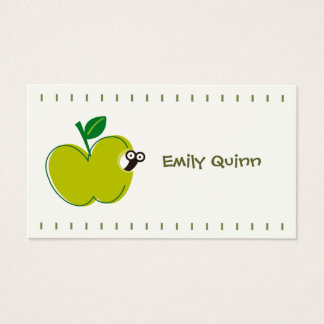 a green apple & a little worm business card