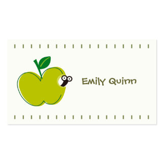 a green apple & a little worm pack of standard business cards