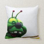 A green caterpillar goofy fair ride image throw pillow
