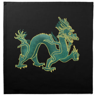 A Green Dragon with Gold Trim Cloth Napkin
