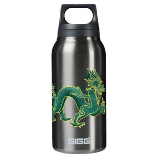 A Green Dragon with Gold Trim Insulated Water Bottle