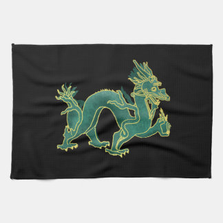 A Green Dragon with Gold Trim Kitchen Towel