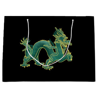 A Green Dragon with Gold Trim Large Gift Bag