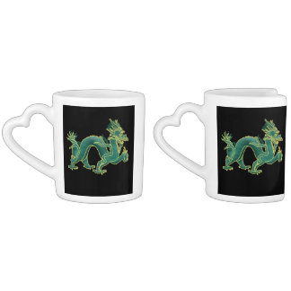 A Green Dragon with Gold Trim Lovers Mug