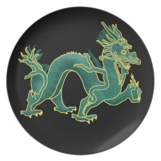 A Green Dragon with Gold Trim Melamine Plate