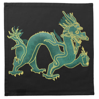 A Green Dragon with Gold Trim Napkin