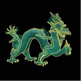 A Green Dragon with Gold Trim Photo Sculpture Badge