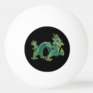 A Green Dragon with Gold Trim Ping Pong Ball
