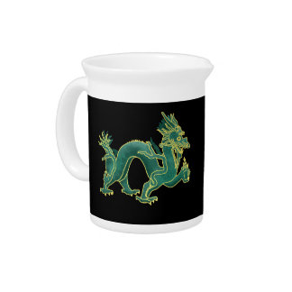 A Green Dragon with Gold Trim Porcelian Pitcher