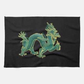 A Green Dragon with Gold Trim Tea Towel