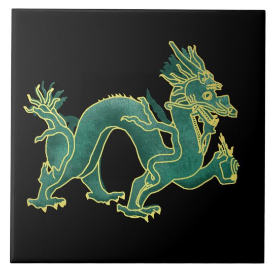 A Green Dragon with Gold Trim Tile